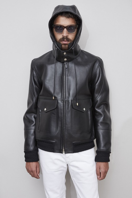 LEATHER HOODIE SCOTT JACKET