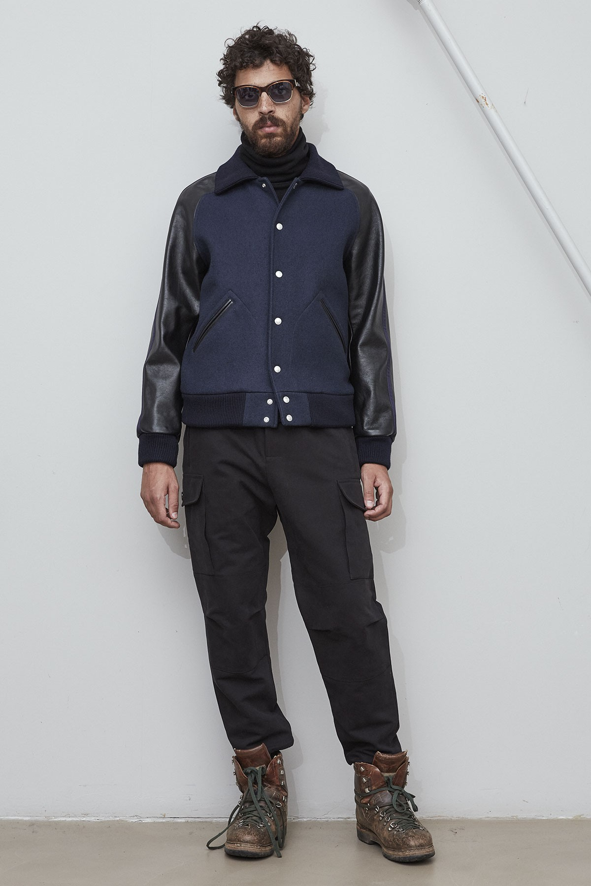 K.K.  WOOL BOMBER with LEATHER SLEEVES