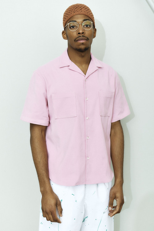 SHORT SLEEVE VELVET SHIRT