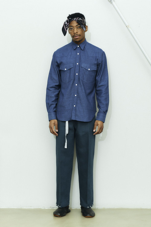 JAPANESE HAND WEAVED INDIGO WESTERN SHIRT
