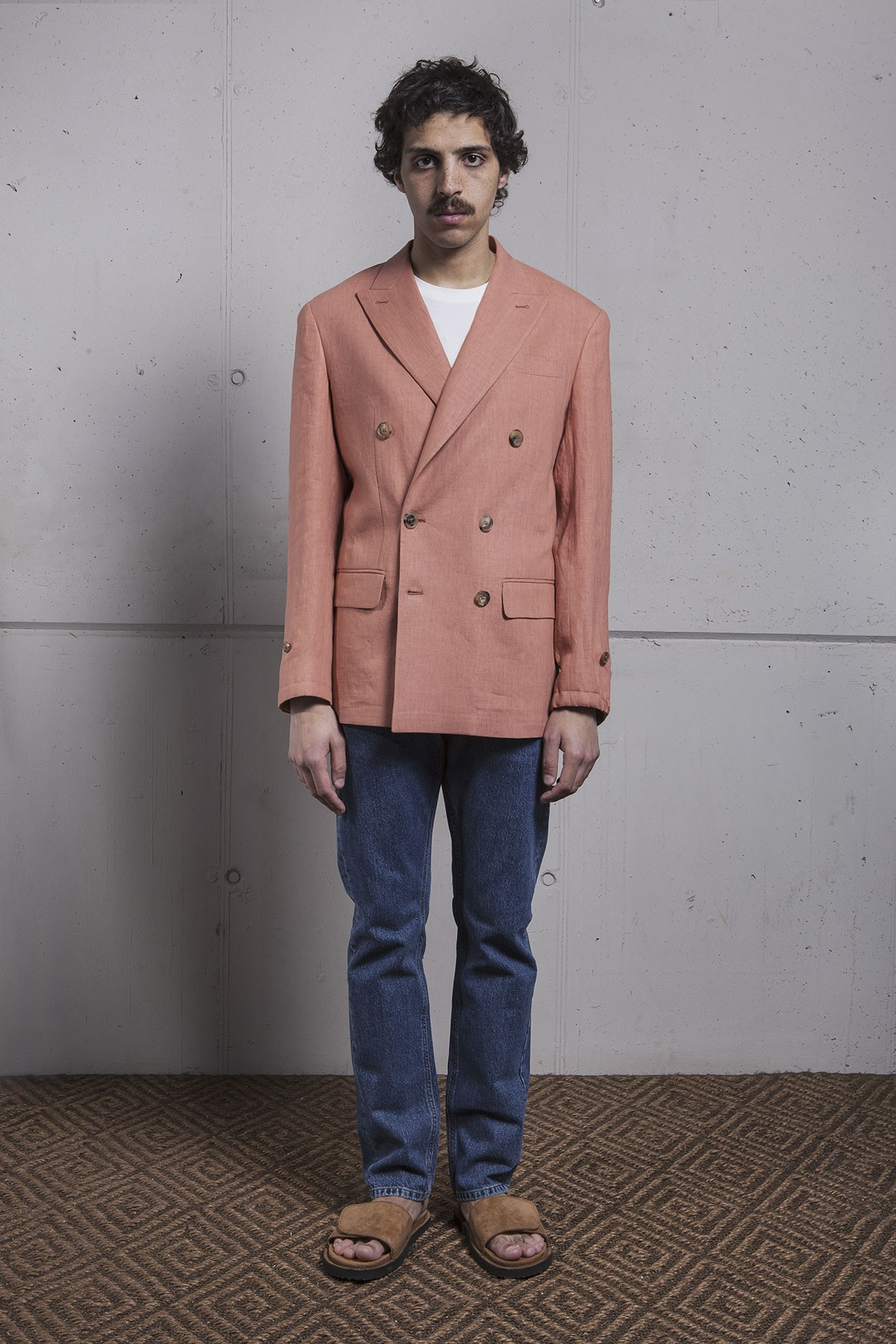 SALMON LINEN DOUBLE BREASTED HECTOR JACKET