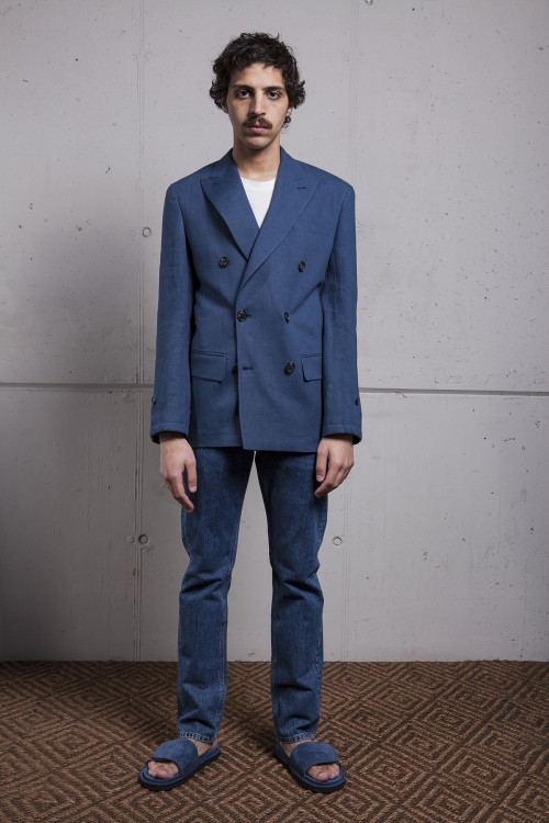 8be10cfca27ad8 BLUE LINEN DOUBLE BREASTED HECTOR JACKET ...