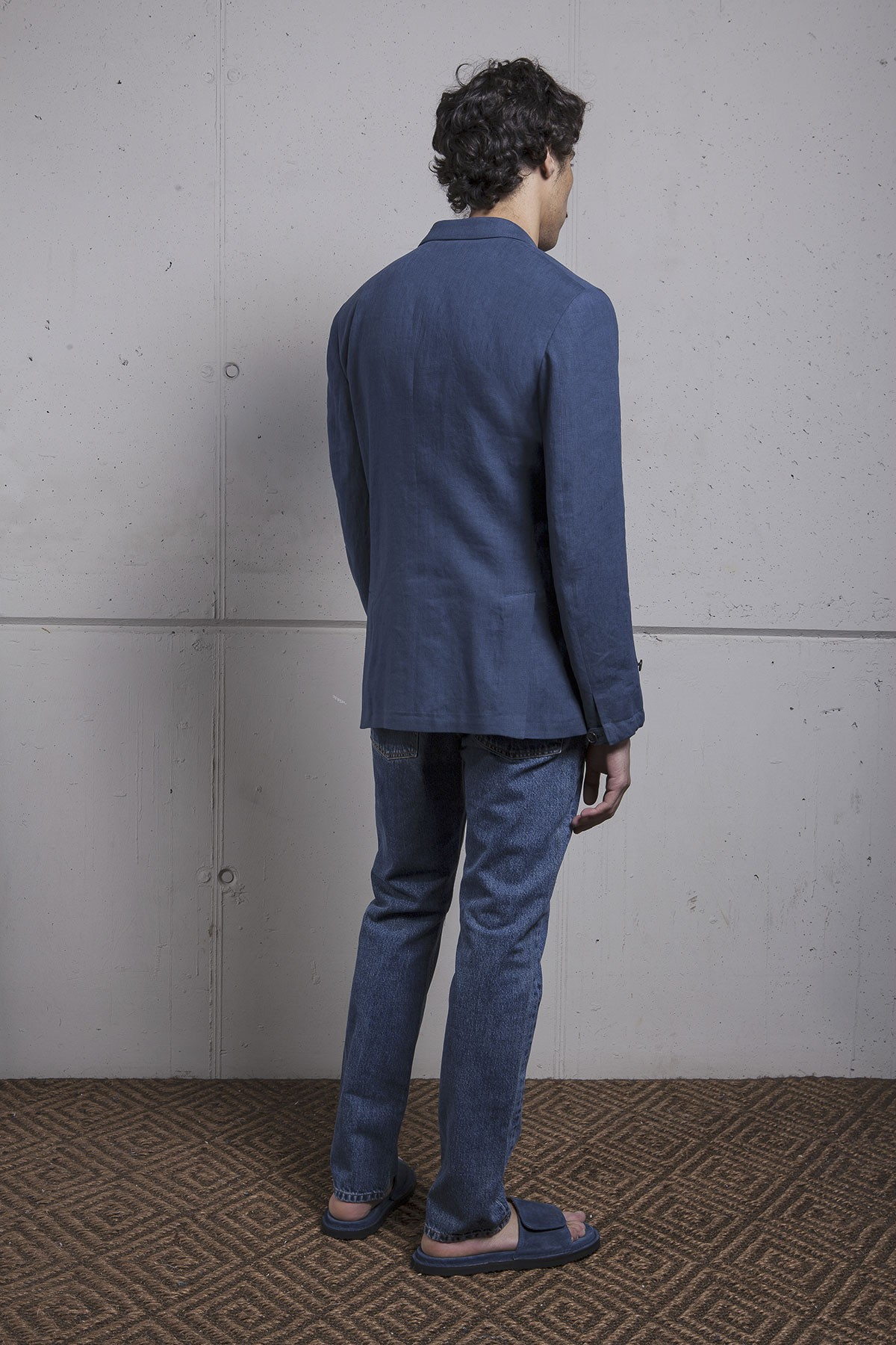 BLUE LINEN DOUBLE BREASTED HECTOR JACKET