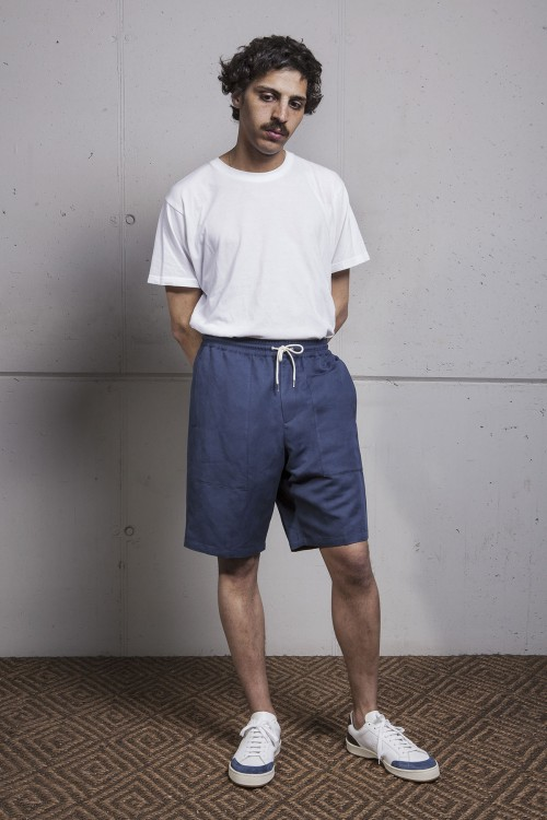 NAVY COTTON TEJANO SHORTS