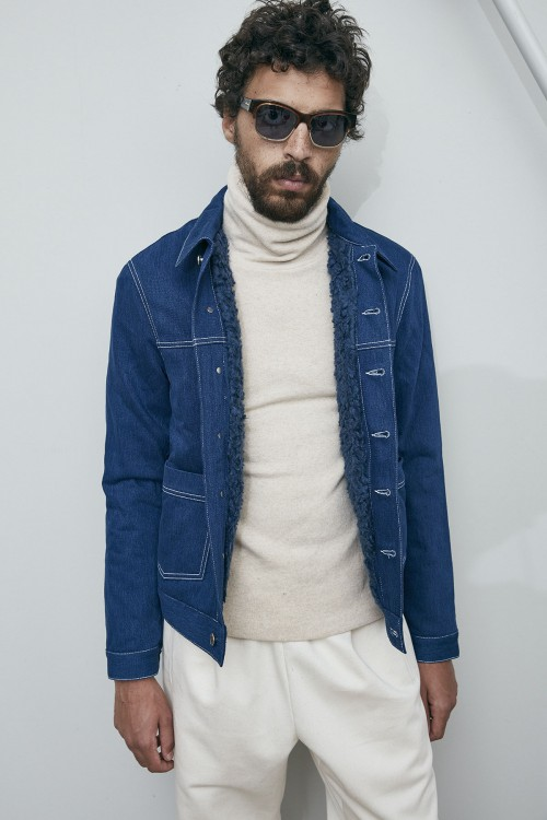 SHERPA  DENIM JEANS JACKET