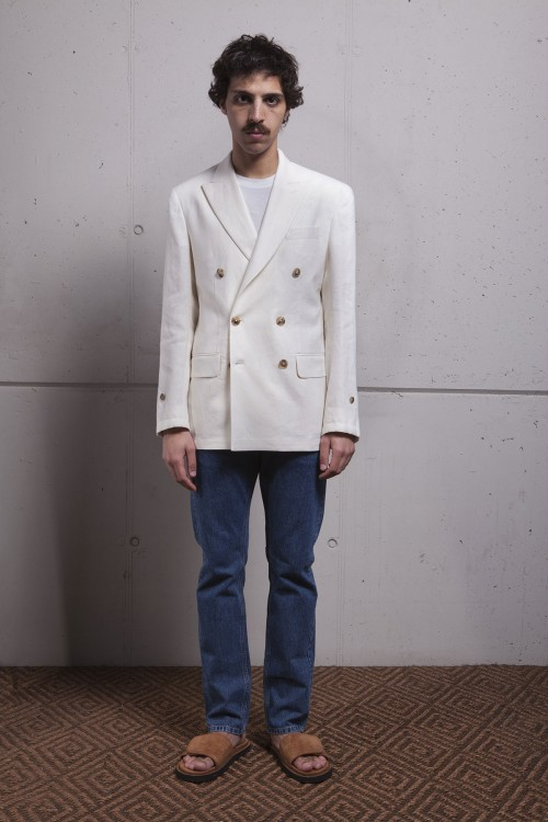 WHITE LINEN DOUBLE BREASTED HECTOR JACKET